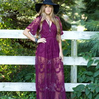Wine Embroidered Lace Maxi Dress