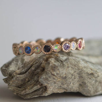 Gorgeous eternity ring with alternating White opals and sapphire, ruby, amethyst, blue topaz, citrine, Tanzanite Free shipping