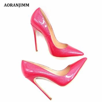 Free shipping real pic hot glitter peach patent real genuine leather sweet women lady girl high heel shoes pump small big size