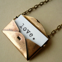 Secret Love Letter Vintage Brass Envelope Locket by BuenoStyle