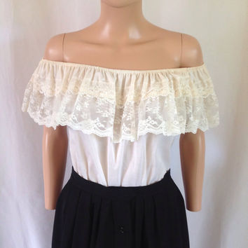 1970's Cream Colored Lacey Peasant Blouse Sz. M