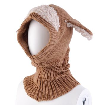 Colorful Autumn Winter Baby Girl Boy Unisex Kids Warm Lovely Cute Dog Knitted Woolen Crochet Hooded Hat Cap Beanie Scarf