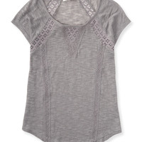 Aeropostale  Sheer Slub-Knit Lace Inset Top