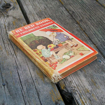 Vintage book The Red Book of Children's Stories Little Black Sambo Little Red Hen Sleeping Beauty 1940s Paper Ephemera