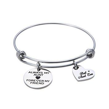 Jewelady Always My Aunt Forever My Friend Engraved Stainless Steel Expandable Bangle Bracelet with Heart Charm