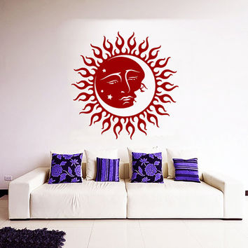 Mandala Wall Decal Ethnic Sunshine Stickers Night Stars Vinyl Decals Sun and Moon Art Mural Home Interior Design Bohemian Bedding Decor KI92