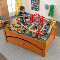 KidKraft Metropolis Train Set & Table - Honey - 17496
