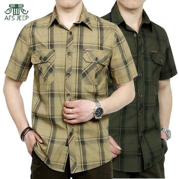 2017 summer Afs Jeep brand new men shirts with short sleeves , casual big yards of cotton plaid men's clothing shirt M-5XL 5002#
