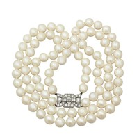 Double Strand Pearl Necklace with 1.78 ct Diamond Set Clasp - Antique