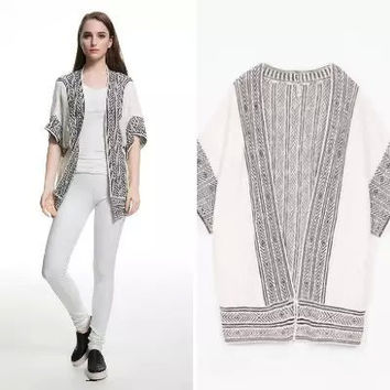 Stylish Half-sleeve Sweater Women's Fashion Tops Jacket [4918965316]