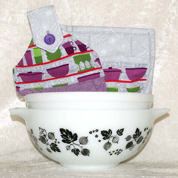 3 Piece Kitchen Set • Handmade Hanging Hand Towel • 2 Pot Holders • Vintage Pyrex & Fiesta Dishes • Retro • Dish Cupboard Purple Green Gray
