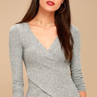 So Delightful Heather Grey Long Sleeve Wrap Top