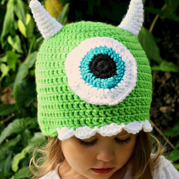 Mike Monsters Inc, Monsters University crochet hat, sizes Newborn, 3-6 m, 6-12m, 1-2 toddler, 2t and up, and Adult, Easy Halloween costume