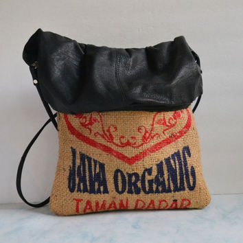 Repurposed Coffee Burlap Purse - Coffee Bean Bags - Leather Bags