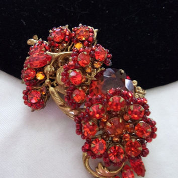 ON SALE MIRIAM Haskell Pin Brooch Vintage Flower Red Glass Rhinestone Bead Gold Plate
