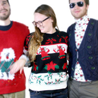 Vintage 80s Bells & Holly Acrylic Ugly Christmas Sweater - The Ugly Sweater Shop