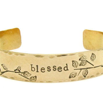 Personalized Gold Bracelet - Personalized Jewelry - Hand Stamped - bird jewelry - bird bracelet, blessed, gift for her, christmas