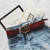 GUCCI high quality Woman Men Fashion Smooth Buckle Belt Leather Belt + Gift Box Red