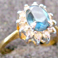 Simple Vintage Gold Plated Sapphire Blue and Rhinestone Ring Size 7.5
