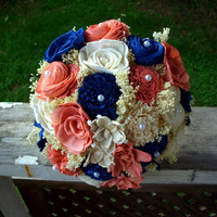 Navy blue and coral sola bouquet, rustic bridal bouquet, rustic wedding, beach bouquet, rustic bouquet, sola bouquet, keepsake bouquet