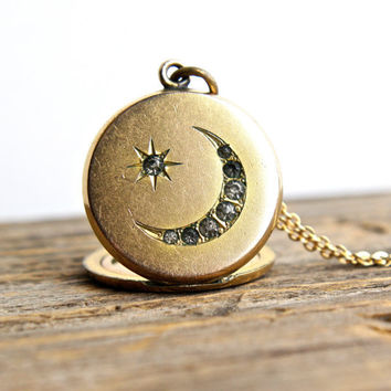 Antique Rhinestone Moon Star Locket Necklace - Late Victorian Early Edwardian Gold Filled Round Pendant Signed W & H Co / Crescent Moon