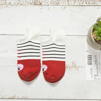 Cute Comfy Bear Ankle Red Socks