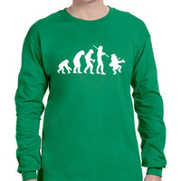 Men's Long Sleeve Irish Evolution Leprechaun St Patrick's Shirt