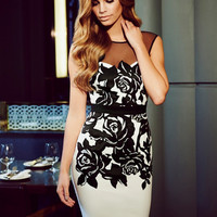 2015 New fashion ladies mesh sleeveless white and black backless slim pencil embroidery dresses women's clubwear dresses