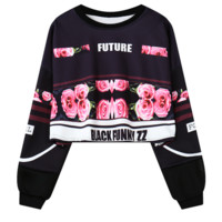 "Fashion ""FUTURE""letters rose print crop top long sleeve sweater for women top black"