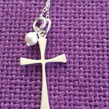 GodmotherGift - First Communion Gift - Catholic - Cross Necklace - Religious Jewelry - Sterling silver Cross - Godmother Necklace