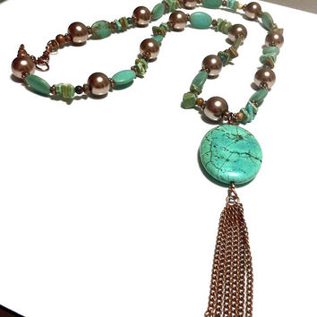 Green Turquoise Pendant Necklace Boho Chic Rustic Turquoise Chocolate Pearl Necklace Green Brown Bohemian Copper Chain Tassel Necklace