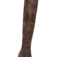 Perouze Boots in Grey Suede with Black Heel