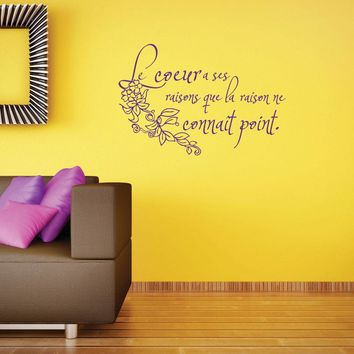 Heart in French Wall Decal Quote