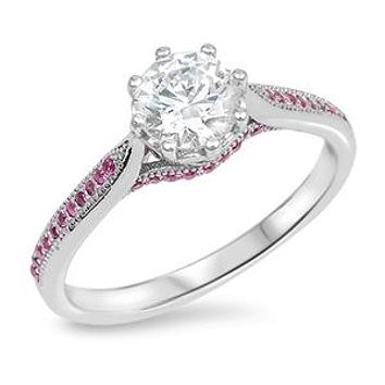 A Perfect 1CT Round Cut Russian Lab Diamond Pink Accent Engagement Ring