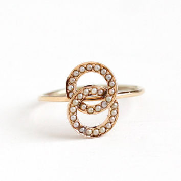 Antique 14k Rosy Yellow Gold Seed Pearl Love Knot Ring - Victorian Size 6 1/4 1800s Fine Stick Pin Conversion Intertwined Circle Jewelry