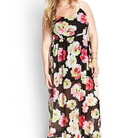 FOREVER 21 PLUS Painted Floral Maxi Dress Black/Pink
