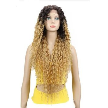 Lace Front Ombre Blonde Wig With Dark Roots Wavy Heat Resistant Fiber
