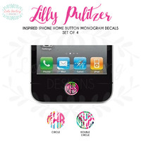 Lilly Pulitzer Inspired Set of 4 - iPhone Home Button Monogram Vinyl Decal