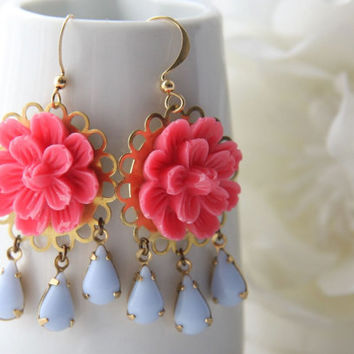 Flower chandelier earrings. Romantic chandelier.Pink and blue chandeliers. Bohemian earrings