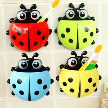 VONC1Y 1PC Ladybug toothbrush holder Toiletries Toothpaste Holder Bathroom Sets Suction Hooks Tooth Brush container ladybird on sale