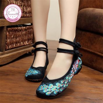 Bright Peacock Embroidery Women Shoes Old Peking Mary Jane Flat Heel Denim Flats with