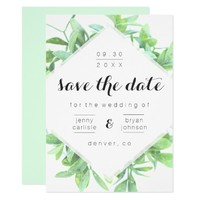 Modern Greenery and Light Blue Save the Date Card