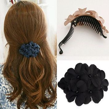 Elegant Women Bead Cute Flower Hair Clip Barrette Clamp Hairpin Hair Accessory