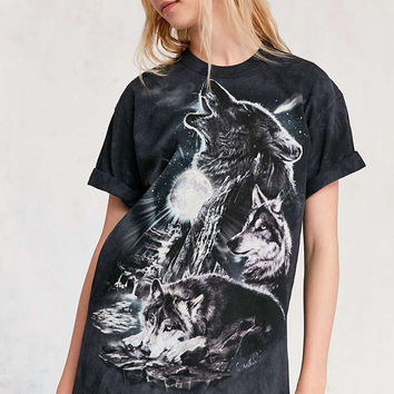 The Mountain Tie-Dye Wolves Tee - Urban Outfitters