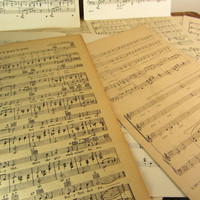 Antique & Vintage Sheet Music and Music Pages Collection of 25 Altered Art or Scrapbooking Antique Paper