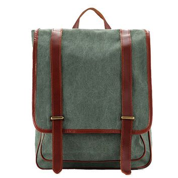 BLUESEBE UNISEX WAXED CANVAS WITH LEATHER TRIM BACKPACK 1831