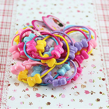 50 Pcs Assorted Elastic Rubber Hair Rope Band Ponytail Holder for Kids  ABD176