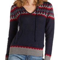 Pullover Sweater with Fur Hood by Charlotte Russe - Navy Combo