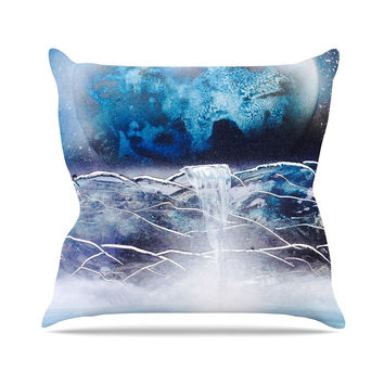 "Infinite Spray Art ""Surreal Falls"" Blue Planet Throw Pillow"