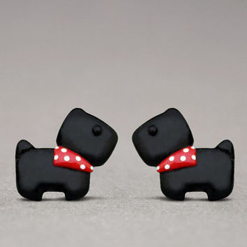 Scottish Terrier Earrings - Cute Studs, Dog Lovers Gifts, Handmade Jewelry